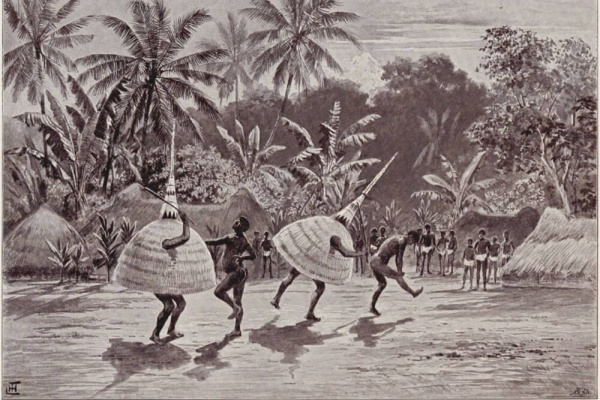 Watercolour of a Duk-Duk dance by Joachim Graf Pfeil, published 1899.