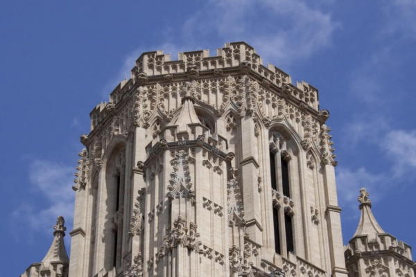 A detail of the top of the tower of the University of Bristol's Wills Memorial Building