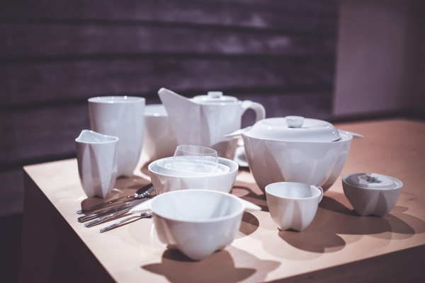 White Tableware on a wooden table