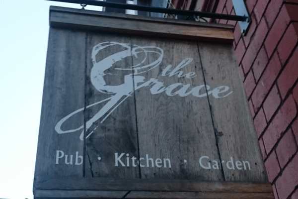 The pub sign of The Grace, Gloucester Road