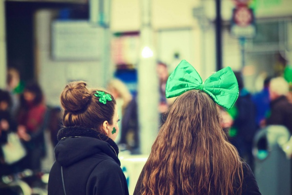 Two women celebrating St Patrick's day
